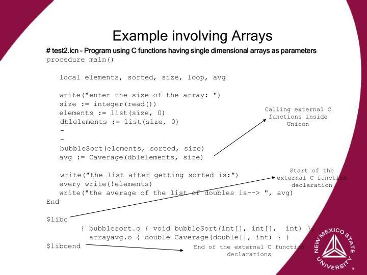 Example involving Arrays