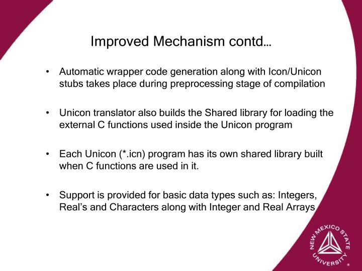 Improved Mechanism contd…