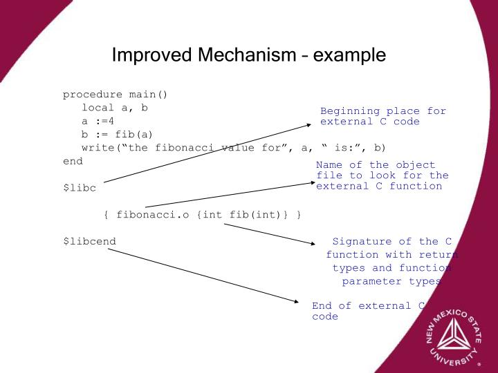 Improved Mechanism – example