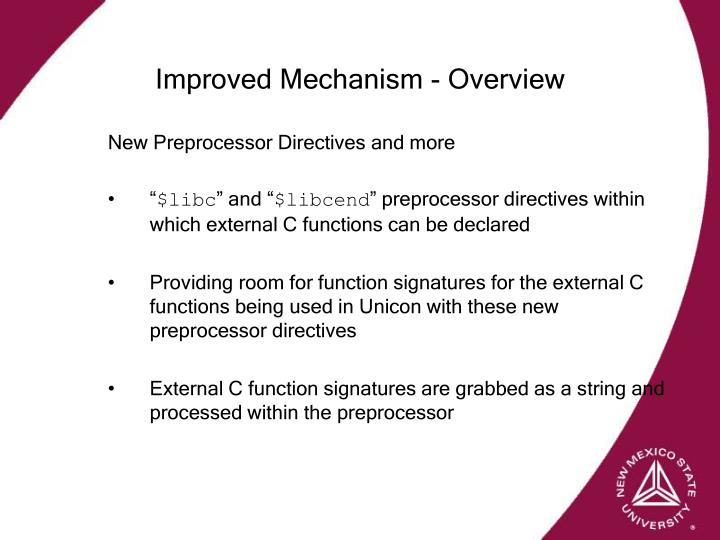 Improved Mechanism - Overview