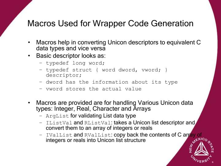 Macros Used for Wrapper Code Generation
