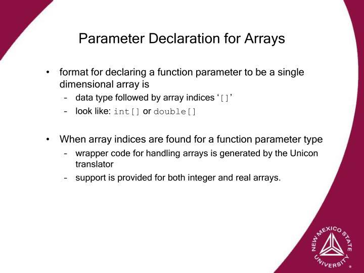 Parameter Declaration for Arrays