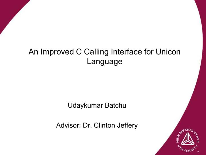 Udaykumar batchu advisor dr clinton jeffery
