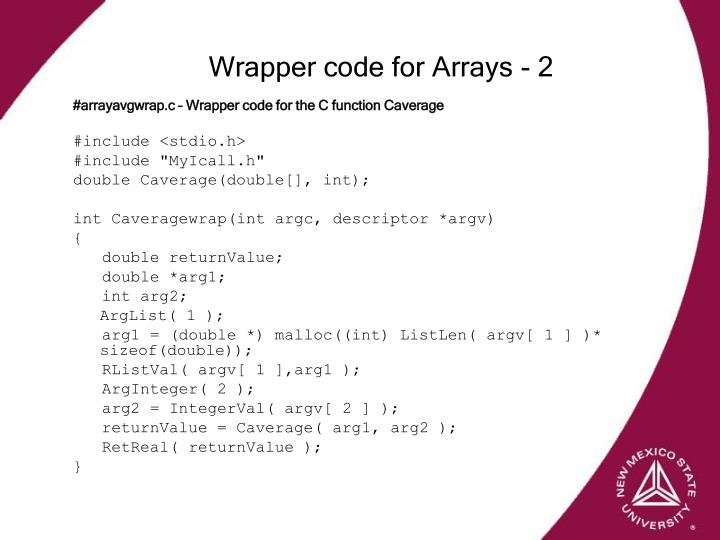Wrapper code for Arrays - 2