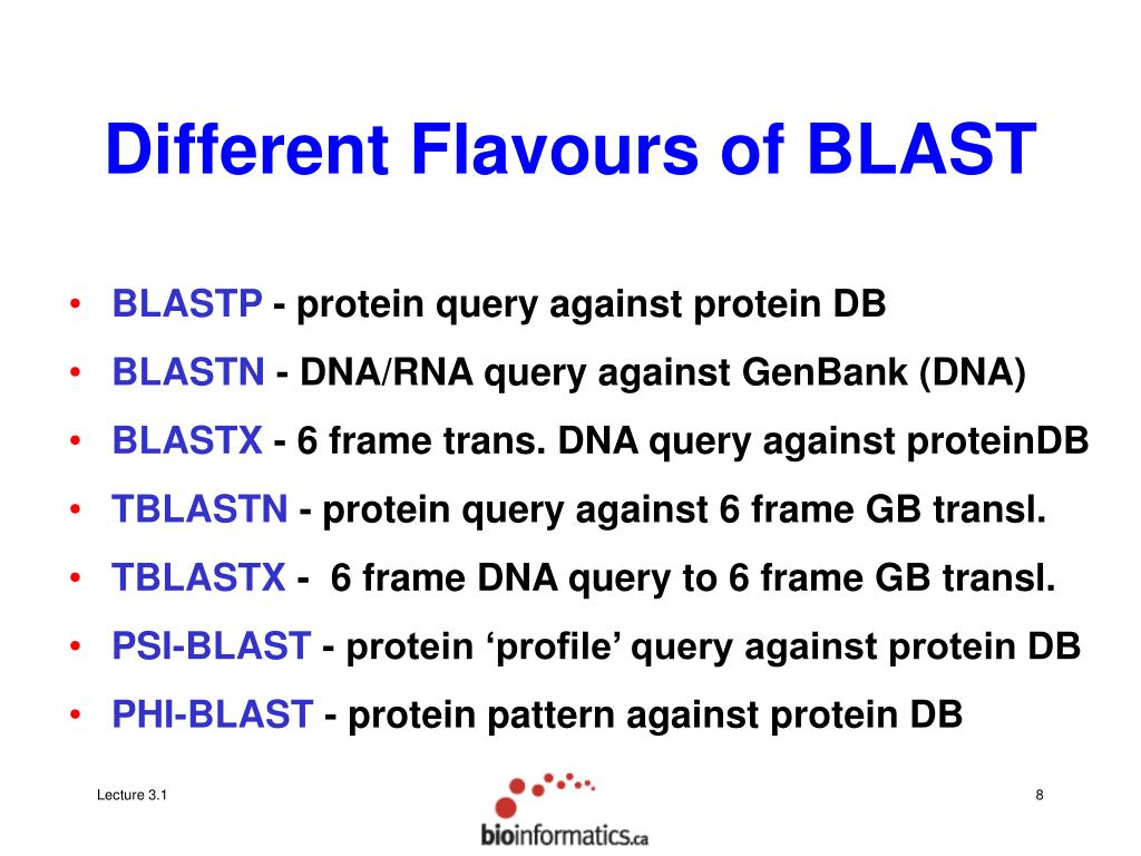 Different Flavours of BLAST
