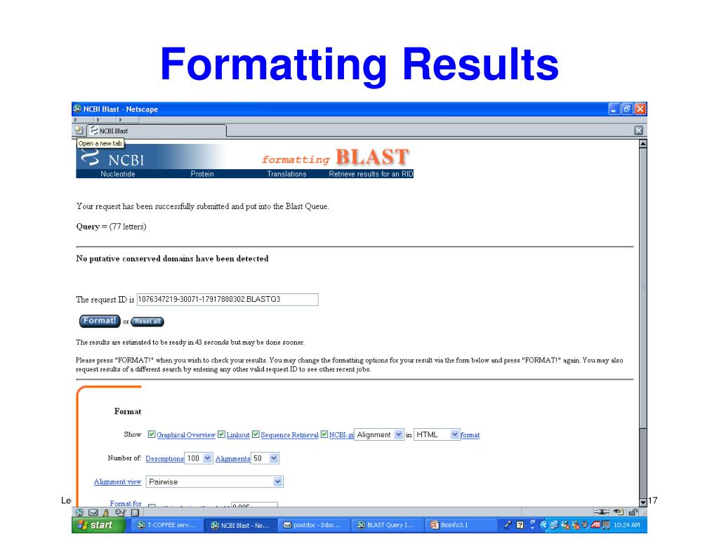 Formatting Results
