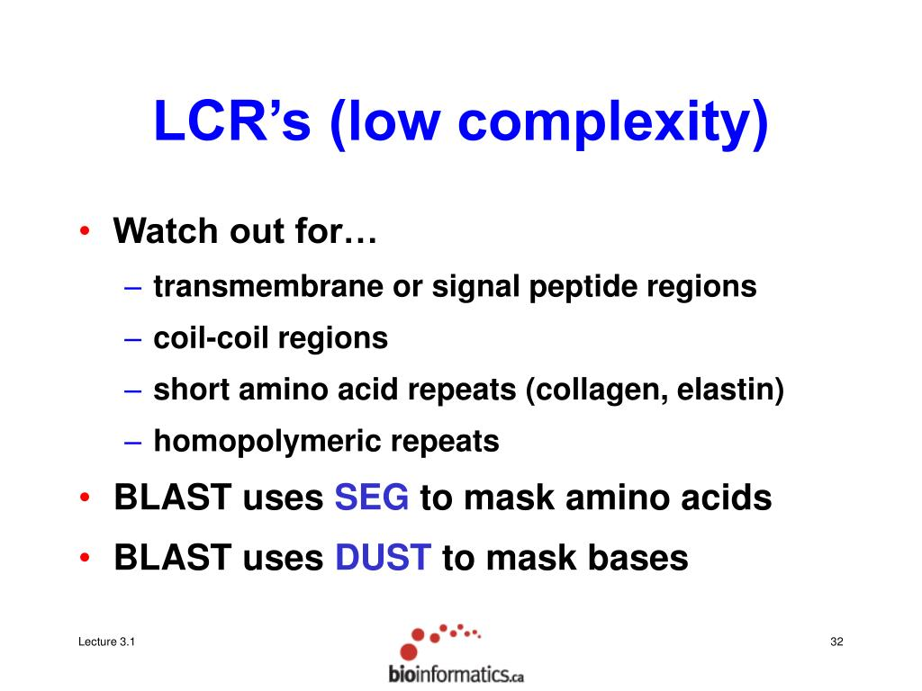 LCR's (low complexity)