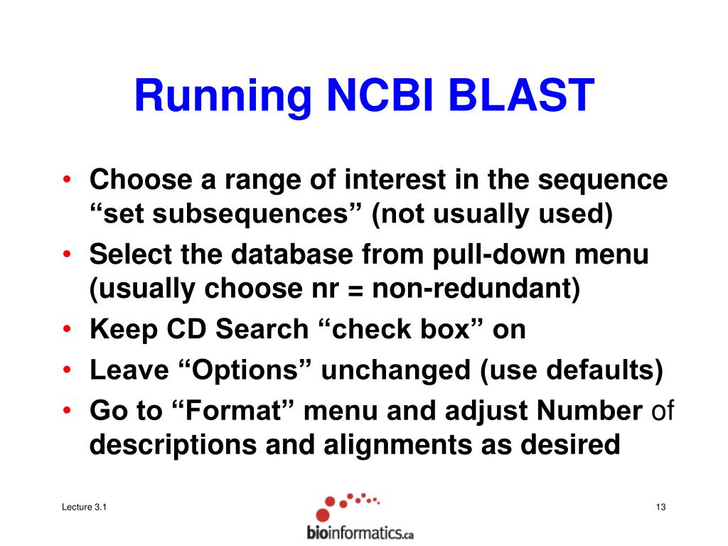 Running NCBI BLAST