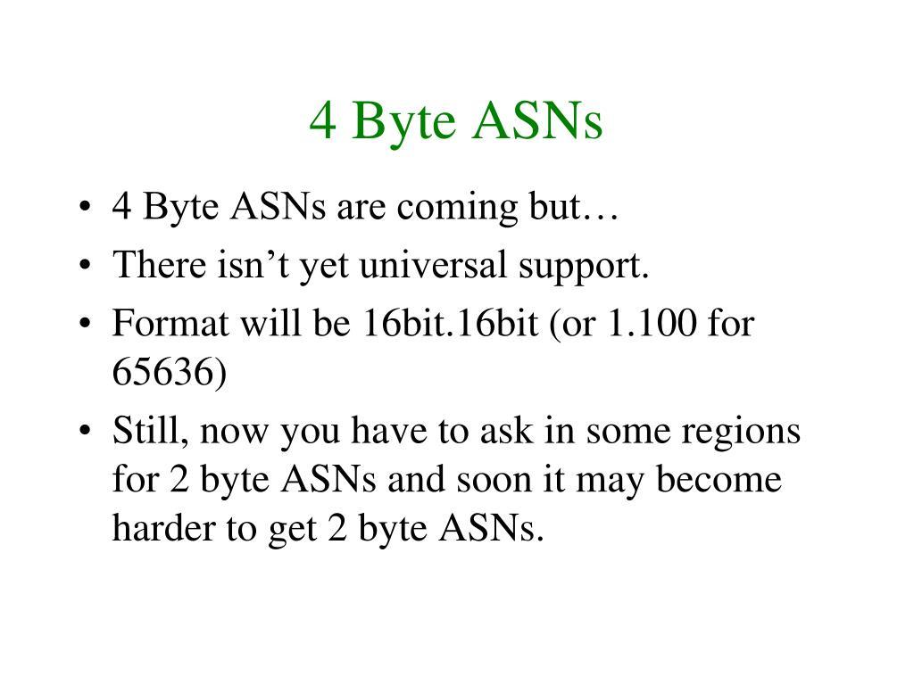 4 Byte ASNs