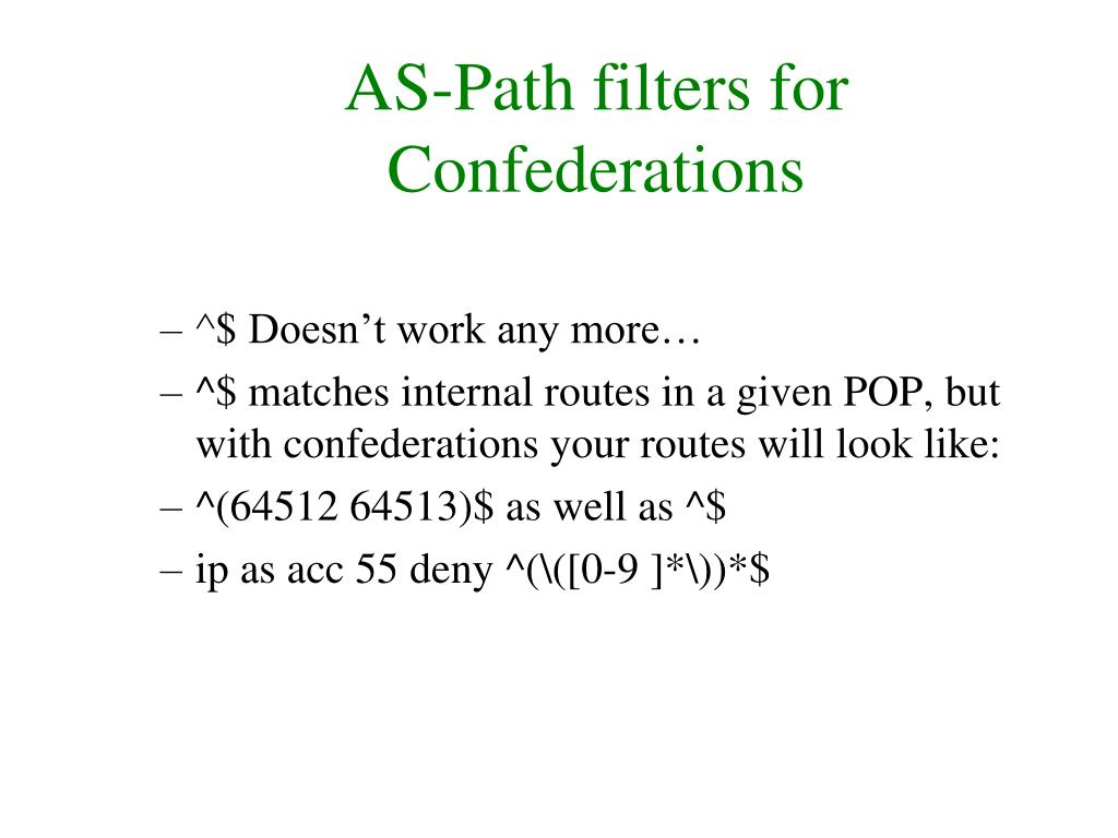 AS-Path filters for Confederations