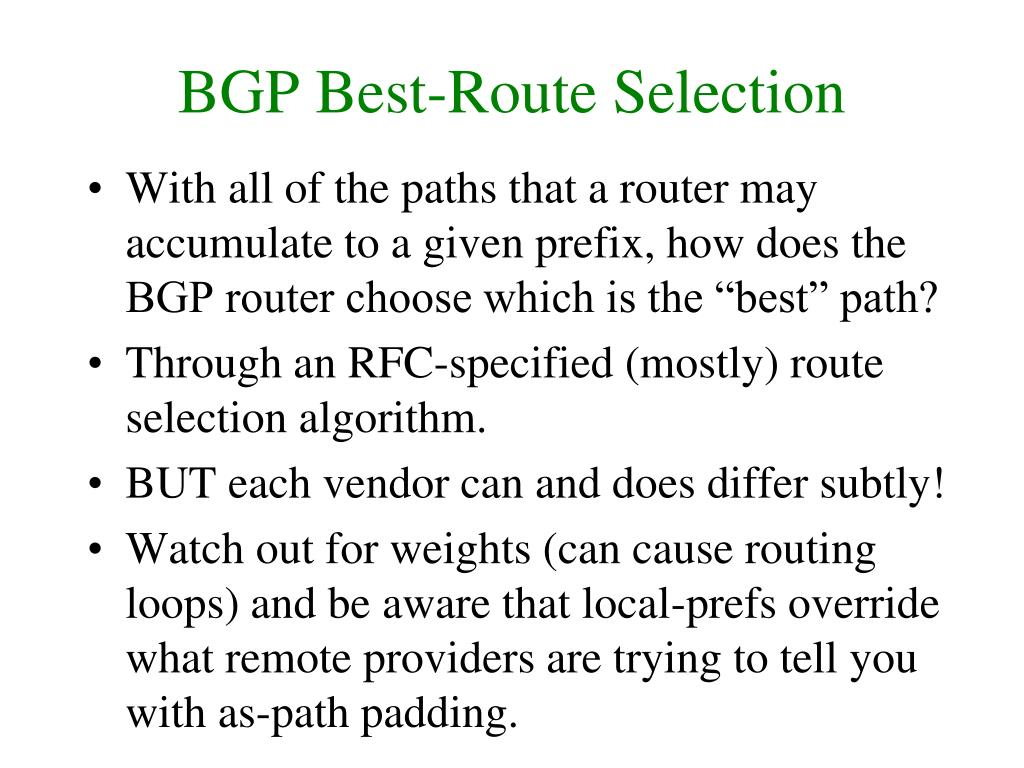 BGP Best-Route Selection