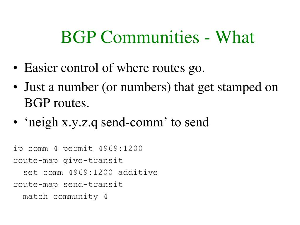 BGP Communities - What