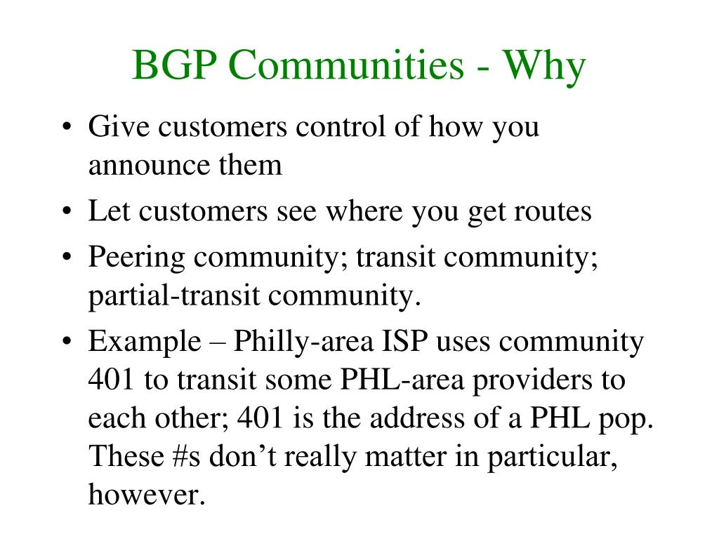 BGP Communities - Why