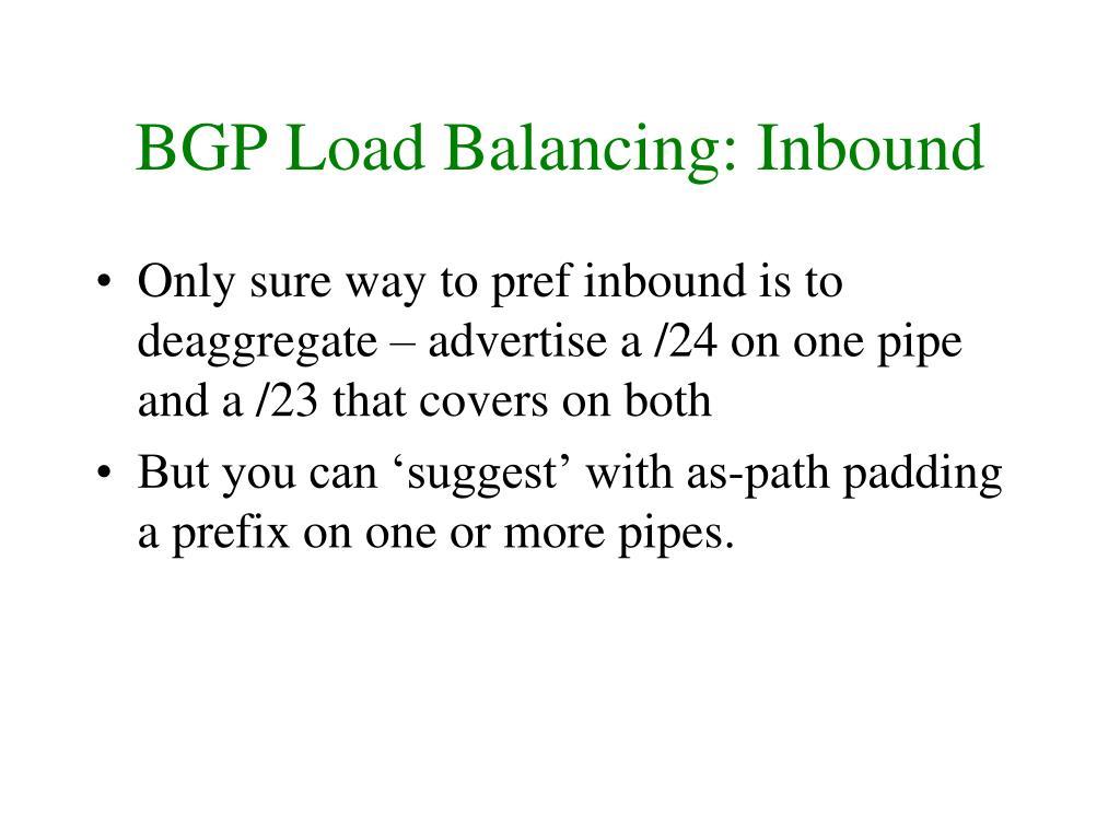 BGP Load Balancing: Inbound