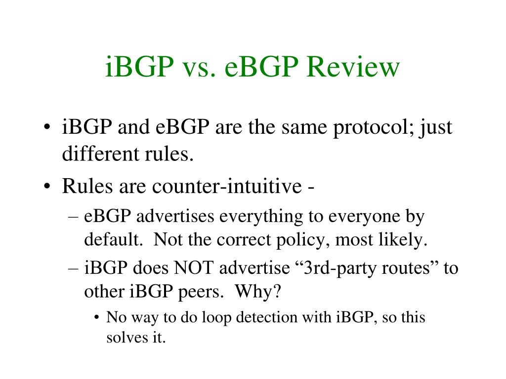 iBGP vs. eBGP Review