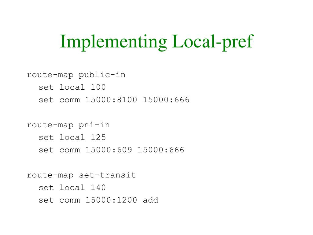 Implementing Local-pref