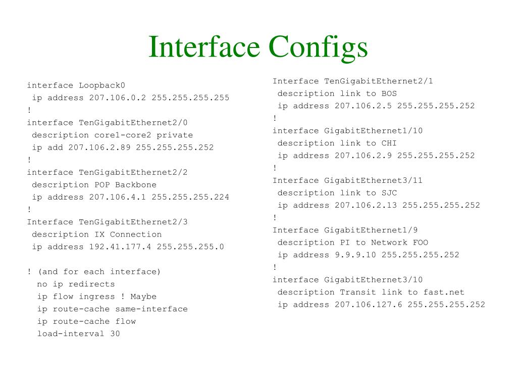 Interface Configs