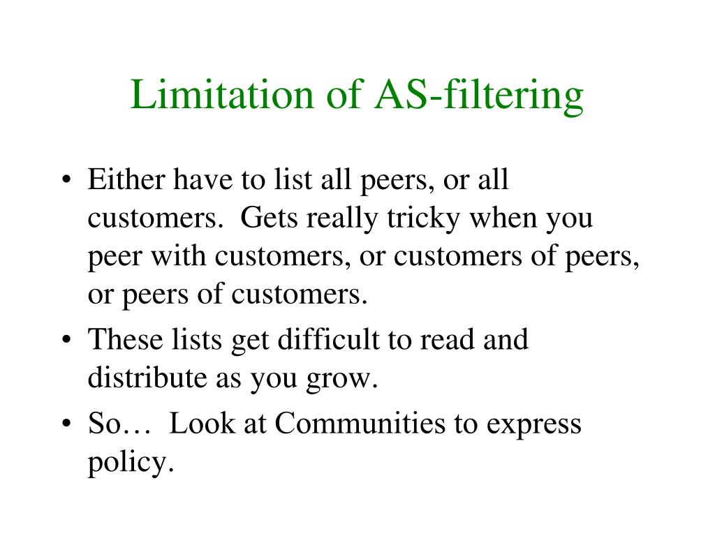 Limitation of AS-filtering