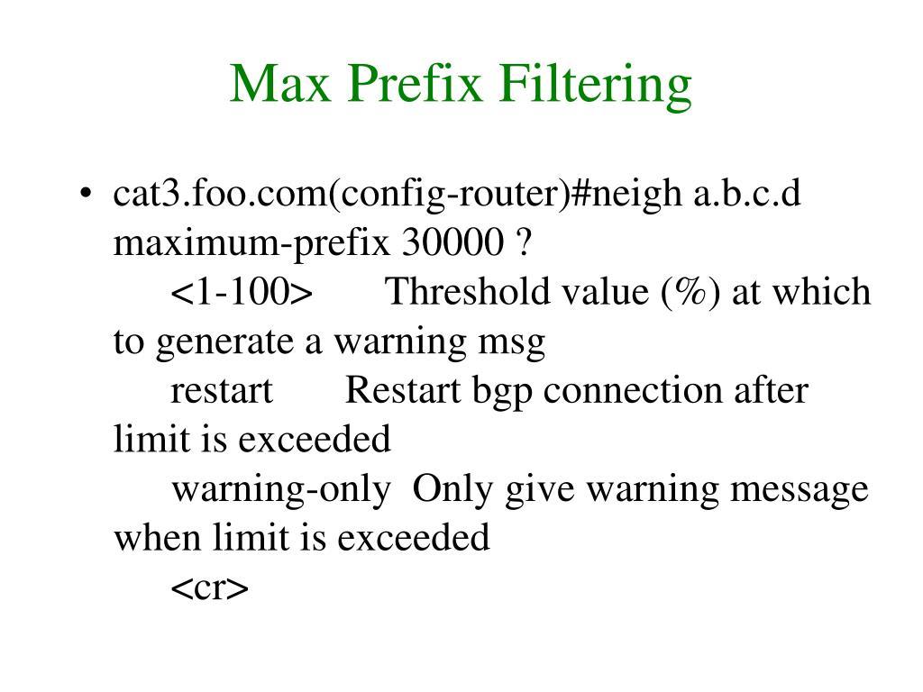 Max Prefix Filtering