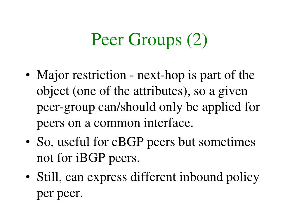Peer Groups (2)