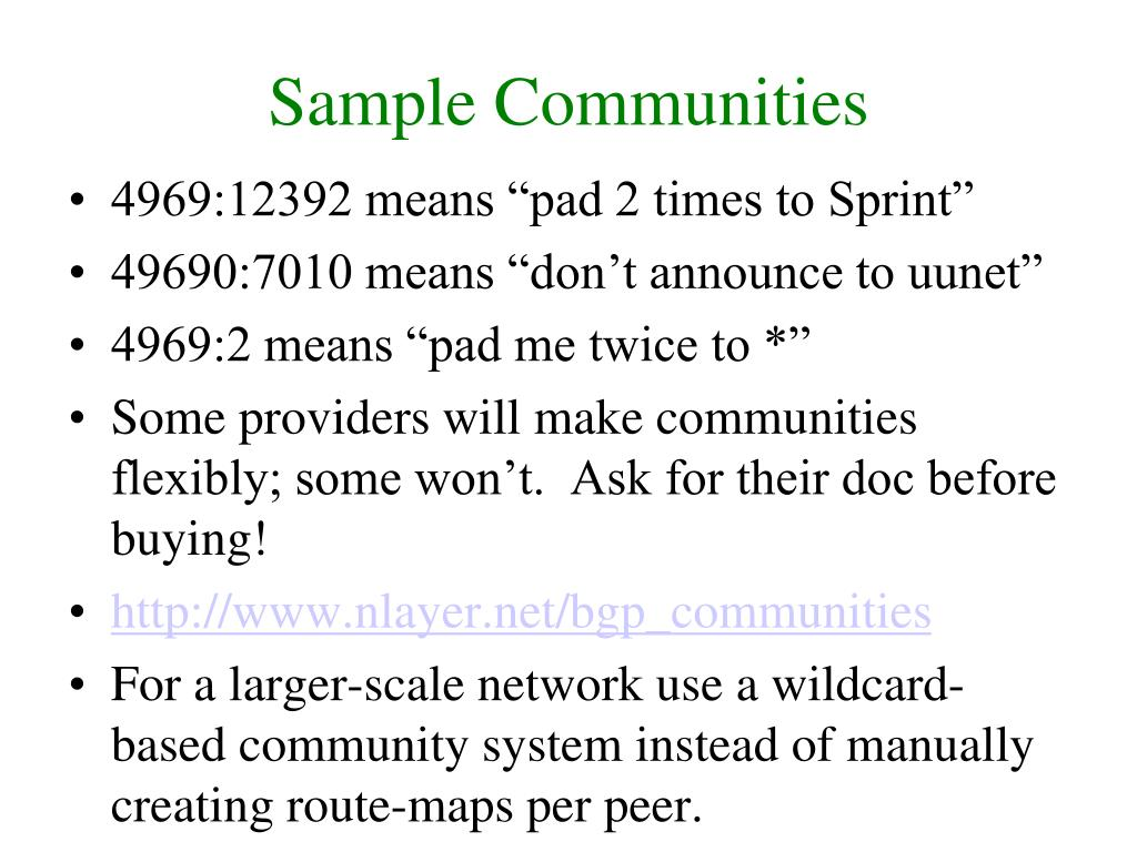 Sample Communities