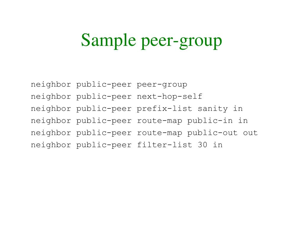 Sample peer-group