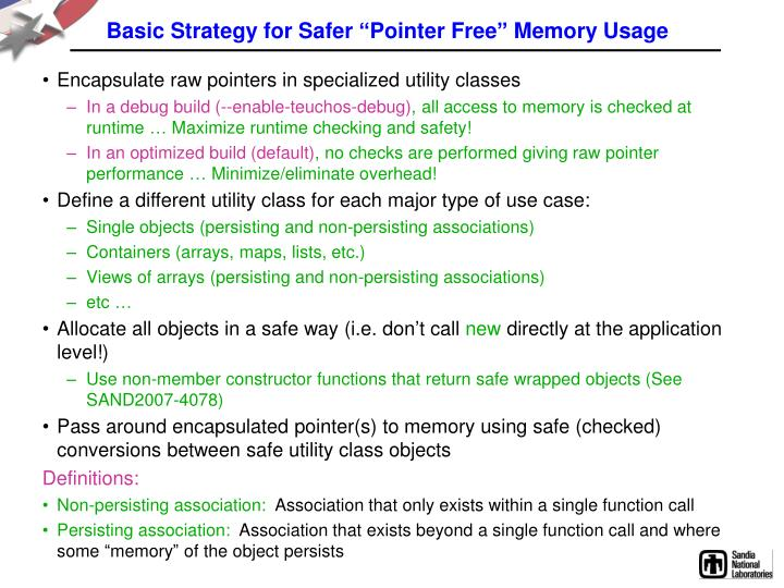 """Basic Strategy for Safer """"Pointer Free"""" Memory Usage"""