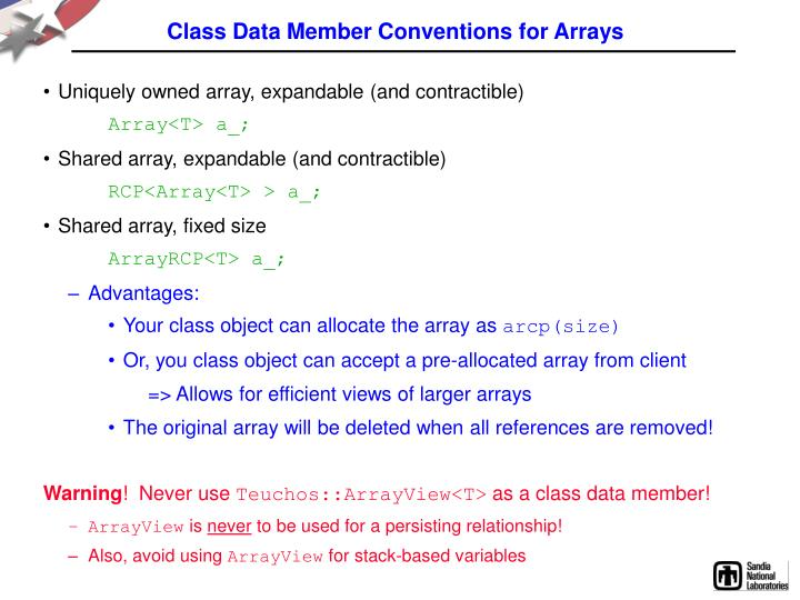 Class Data Member Conventions for Arrays