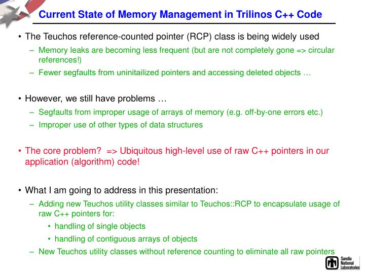 Current State of Memory Management in Trilinos C++ Code