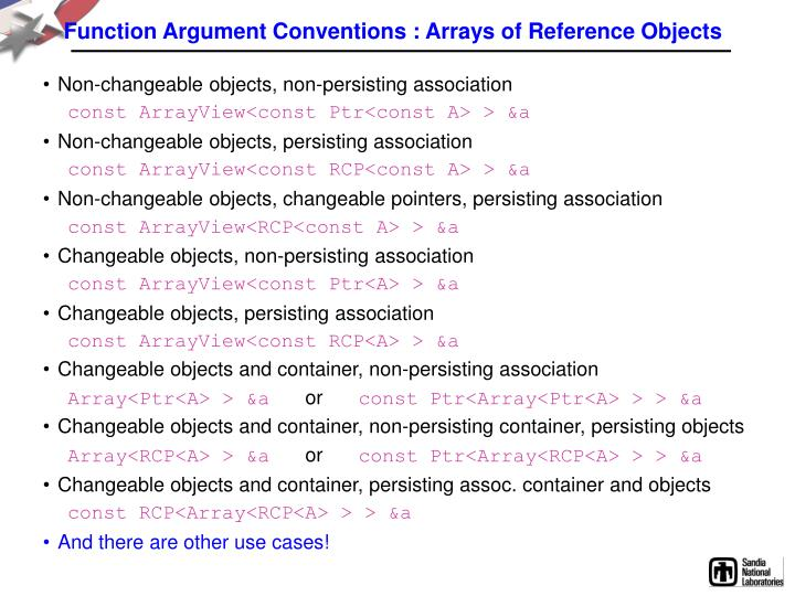 Function Argument Conventions : Arrays of Reference Objects