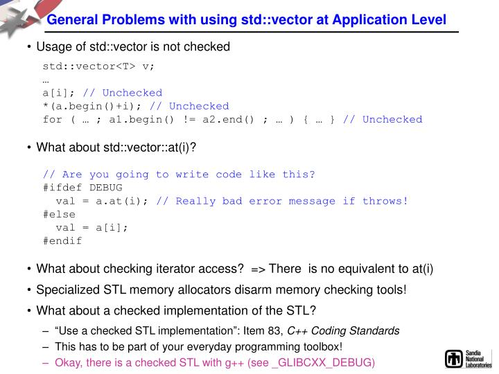 General Problems with using std::vector at Application Level