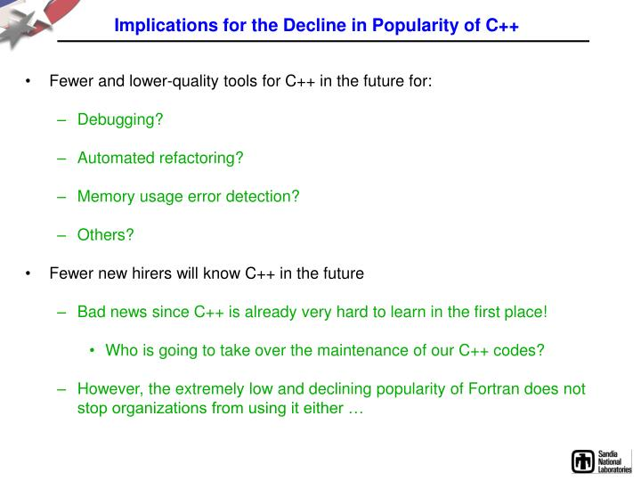 Implications for the Decline in Popularity of C++