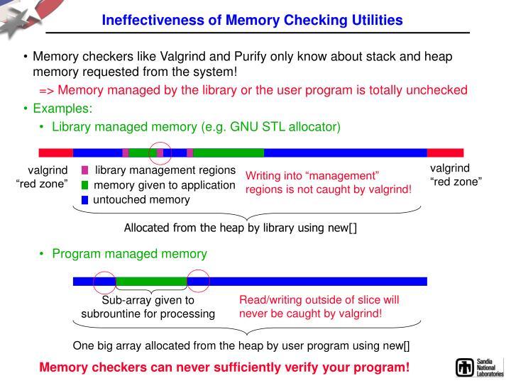 Ineffectiveness of Memory Checking Utilities