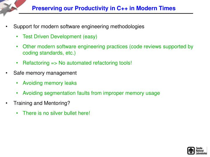 Preserving our Productivity in C++ in Modern Times