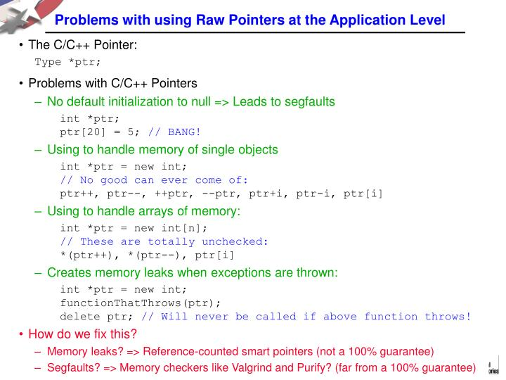Problems with using Raw Pointers at the Application Level