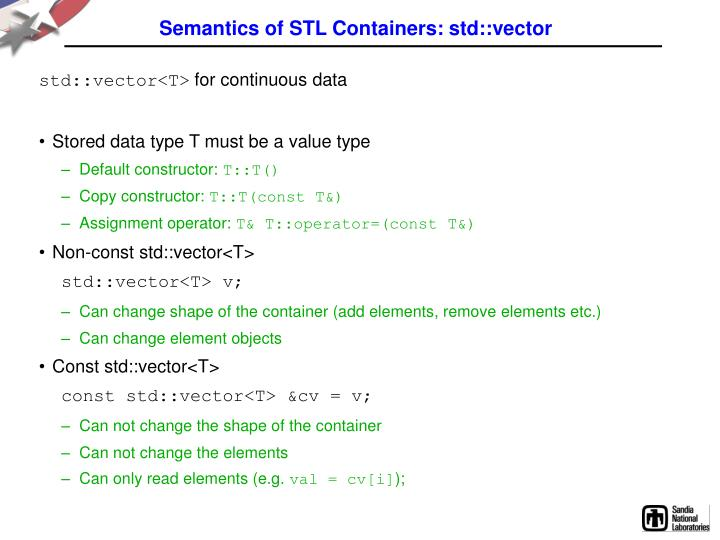 Semantics of STL Containers: std::vector