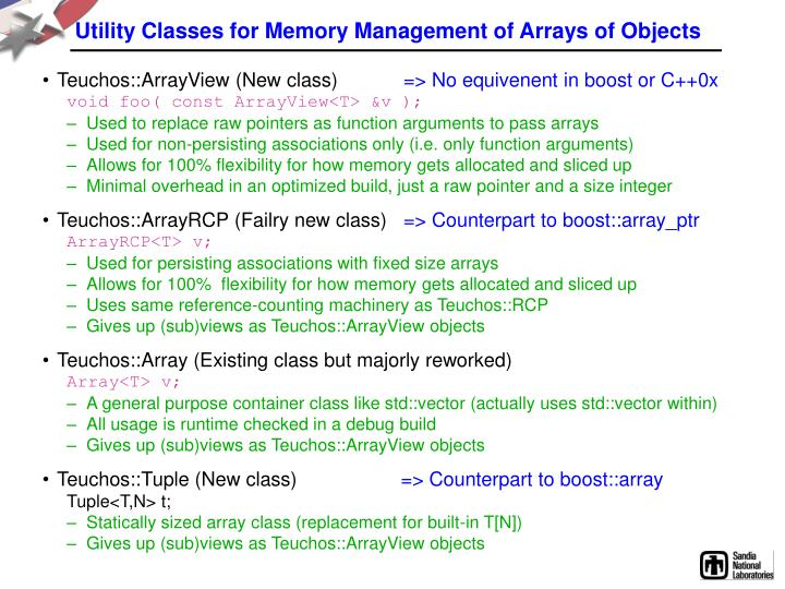 Utility Classes for Memory Management of Arrays of Objects