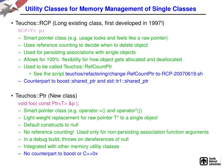 Utility Classes for Memory Management of Single Classes