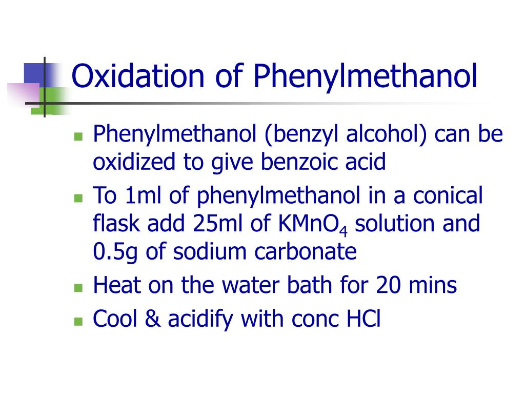 Oxidation of Phenylmethanol