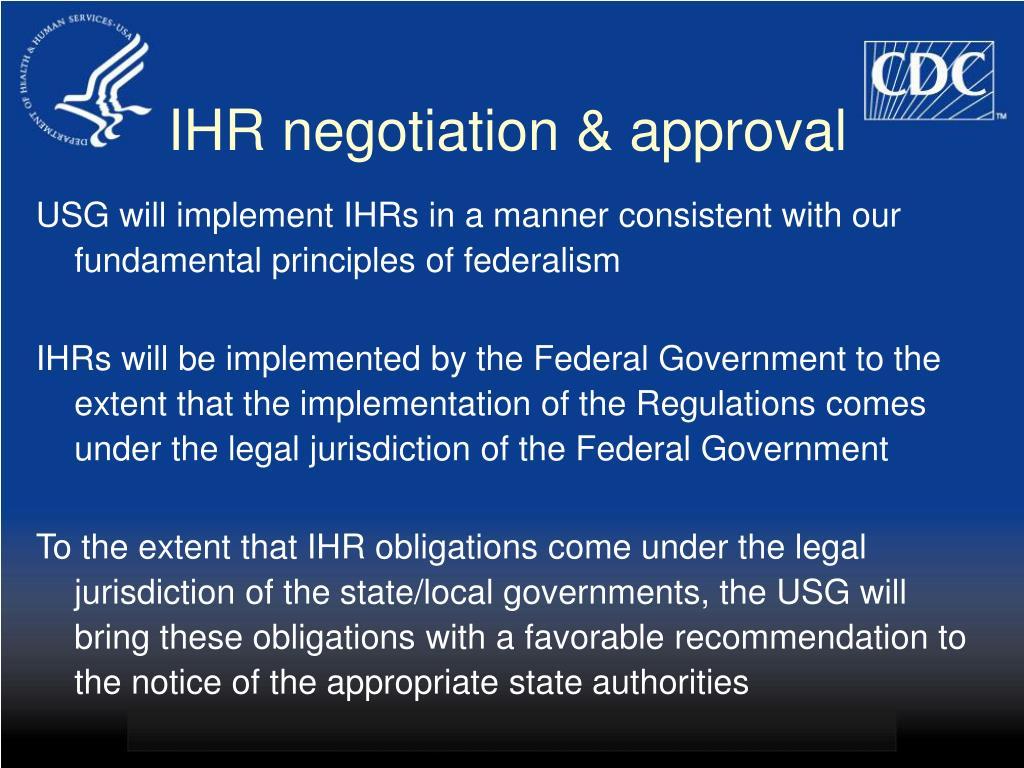IHR negotiation & approval