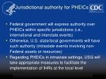 jurisdictional authority for pheics