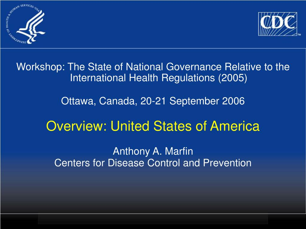 Workshop: The State of National Governance Relative to the International Health Regulations (2005)