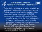 surveillance detection notification verification reporting