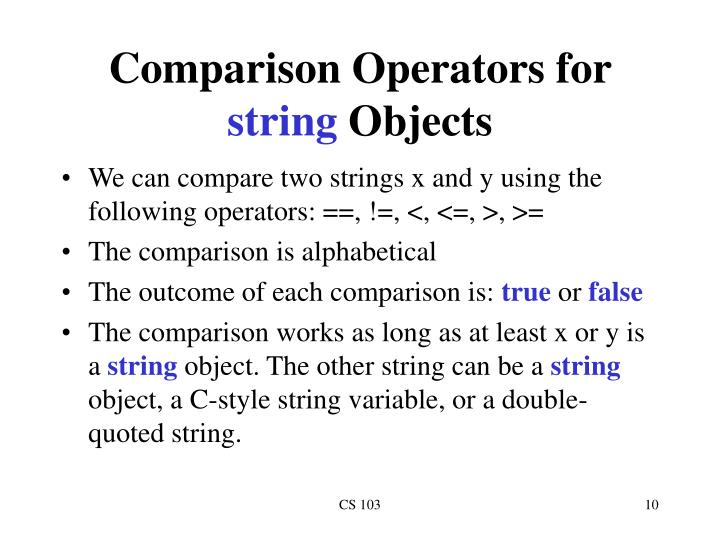 Comparison Operators for