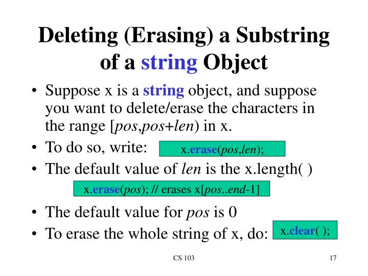 Deleting (Erasing) a Substring of a