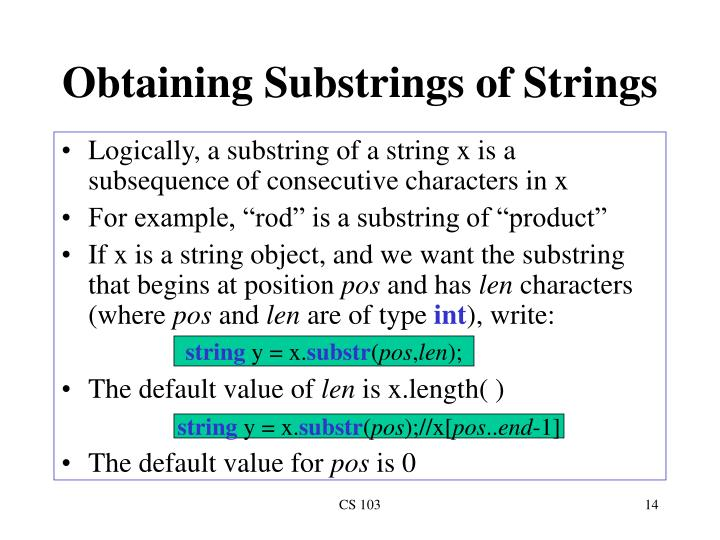 Obtaining Substrings of Strings