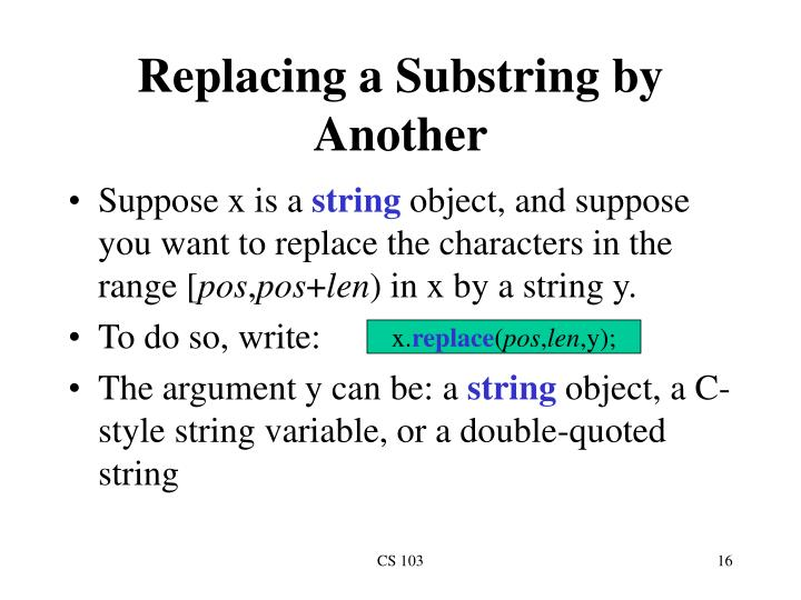Replacing a Substring by Another