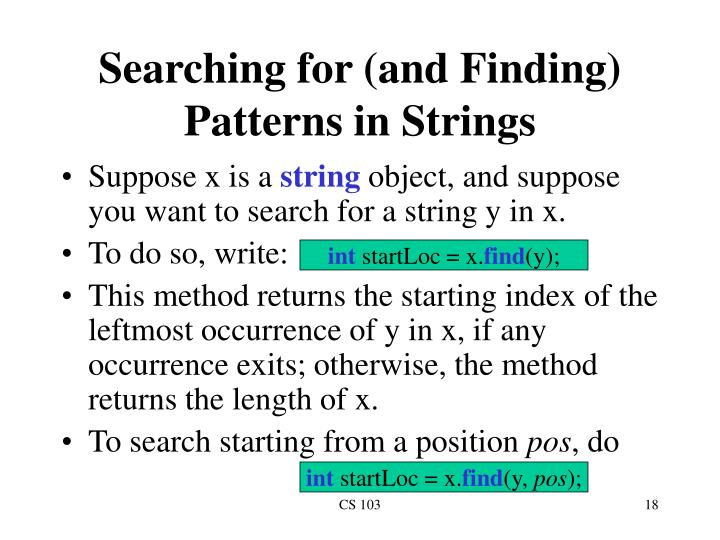 Searching for (and Finding) Patterns in Strings