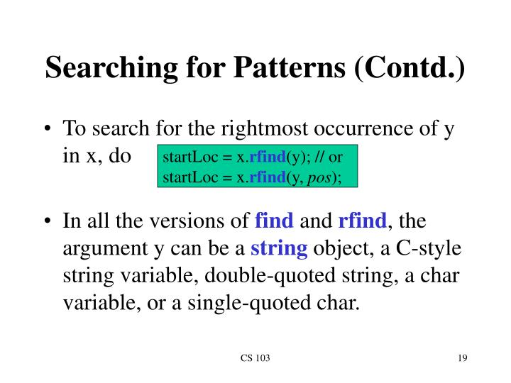 Searching for Patterns (Contd.)