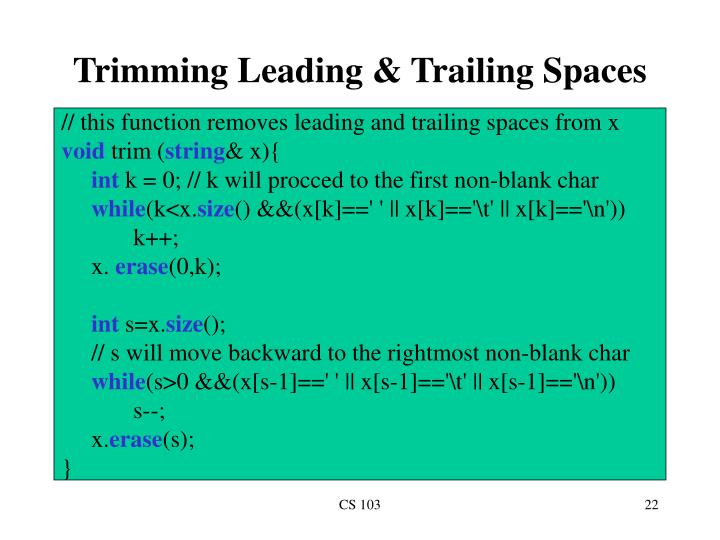 Trimming Leading & Trailing Spaces
